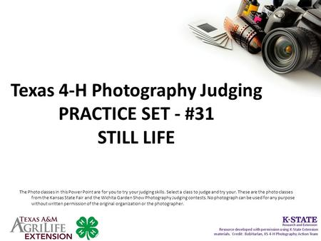 Texas 4-H Photography Judging PRACTICE SET - #31 STILL LIFE The Photo classes in this Power Point are for you to try your judging skills. Select a class.