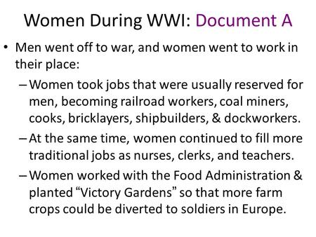 Women During WWI: Document A