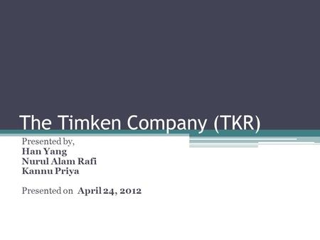 The Timken Company (TKR)