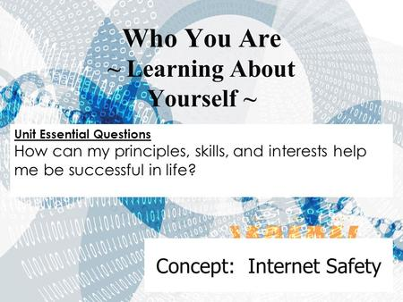 Concept: Internet Safety Who You Are ~ Learning About Yourself ~ Unit Essential Questions How can my principles, skills, and interests help me be successful.