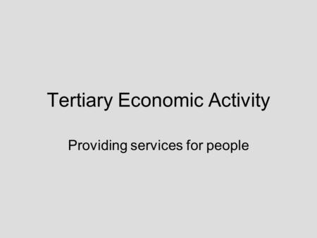 Tertiary Economic Activity Providing services for people.
