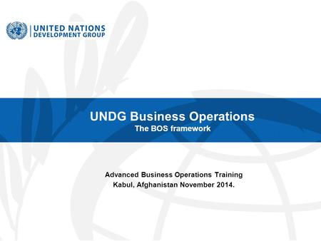 UNDG Business Operations The BOS framework