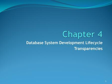 Database System Development Lifecycle Transparencies