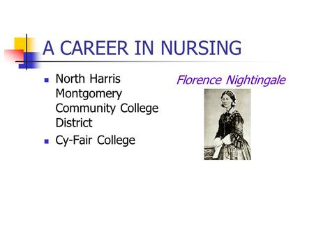 A CAREER IN NURSING North Harris Montgomery Community College District Cy-Fair College Florence Nightingale.