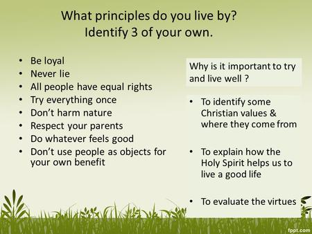 What principles do you live by? Identify 3 of your own.