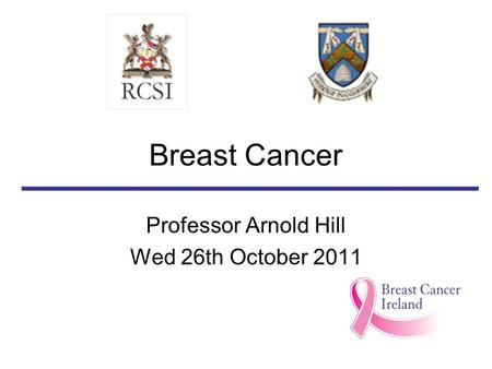 Professor Arnold Hill Wed 26th October 2011