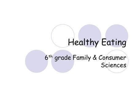 Healthy Eating 6 th grade Family & Consumer Sciences.