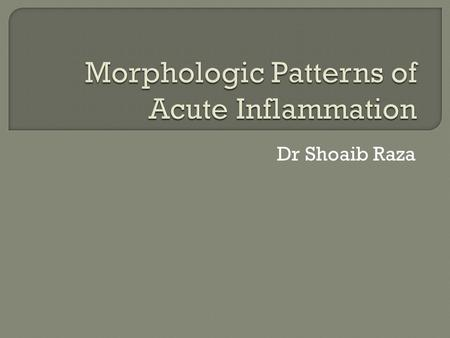 Dr Shoaib Raza. Acute inflammation is morphologically characterized by – Dilatation of small blood vessels – Slowing of blood flow – Leukocyte infiltration.