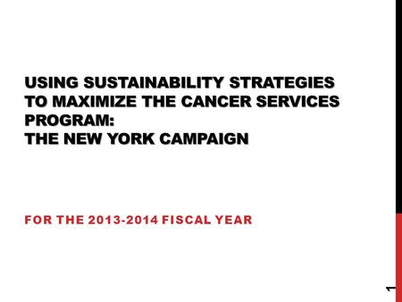 USING SUSTAINABILITY STRATEGIES TO MAXIMIZE THE CANCER SERVICES PROGRAM: THE NEW YORK CAMPAIGN FOR THE 2013-2014 FISCAL YEAR 1.