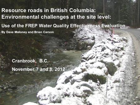 Resource roads in British Columbia: Environmental challenges at the site level: Use of the FREP Water Quality Effectiveness Evaluation By Dave Maloney.