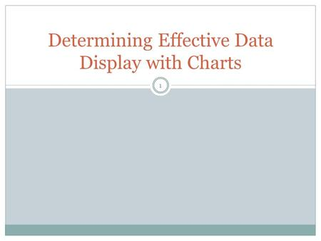1 Determining Effective Data Display with Charts.