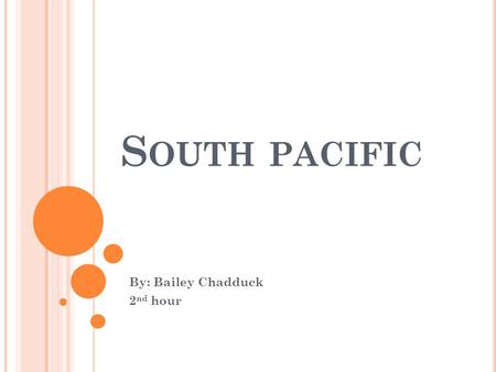 S OUTH PACIFIC By: Bailey Chadduck 2 nd hour. DESCRIPTION The south pacific is a large body of salt water that extends from the Antarctic region in the.