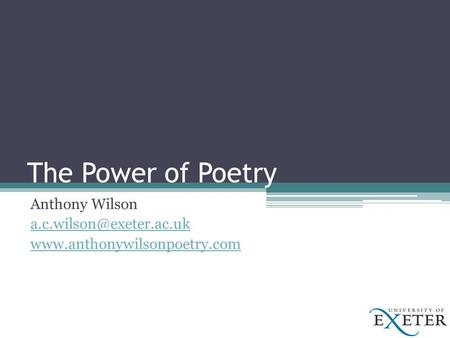 The Power of Poetry Anthony Wilson