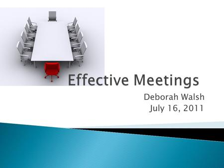 Deborah Walsh July 16, 2011. 1. happen when every board member knows he/she is responsible; 2. begin before the meeting convenes; 3. follow established.