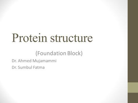 (Foundation Block) Dr. Ahmed Mujamammi Dr. Sumbul Fatma