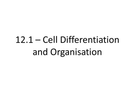 12.1 – Cell Differentiation and Organisation