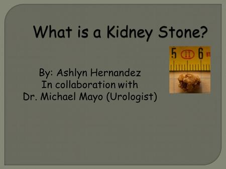 What is a Kidney Stone? By: Ashlyn Hernandez In collaboration with Dr. Michael Mayo (Urologist)