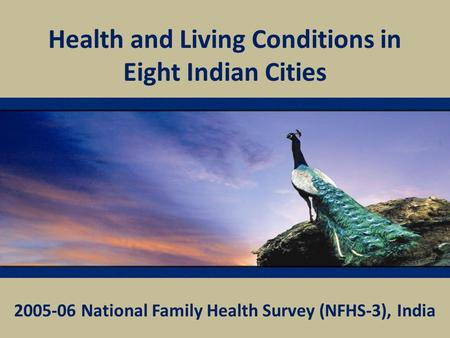 Health and Living Conditions in Eight Indian Cities 2005-06 National Family Health Survey (NFHS-3), India.
