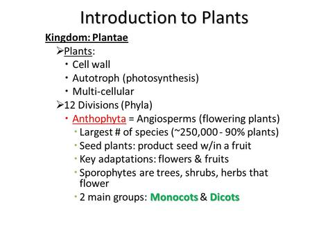 Introduction to Plants Kingdom: Plantae  Plants:  Cell wall  Autotroph (photosynthesis)  Multi-cellular  12 Divisions (Phyla)  Anthophyta = Angiosperms.