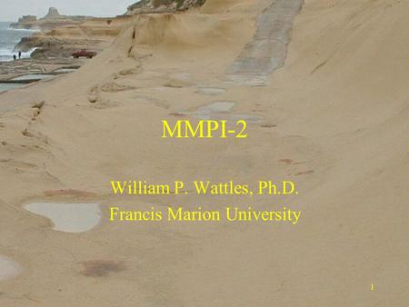 1 MMPI-2 William P. Wattles, Ph.D. Francis Marion University.