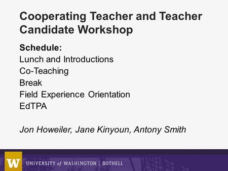 Cooperating Teacher and Teacher Candidate Workshop