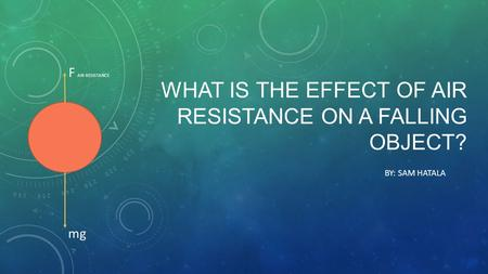 WHAT IS THE EFFECT OF AIR RESISTANCE ON A FALLING OBJECT? BY: SAM HATALA F AIR RESISTANCE mg.