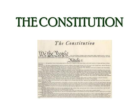 THE CONSTITUTION. SUPREME LAW OF THE LAND It represents our belief in Power of govt. comes from the people Government power is limited Ordered, organized.