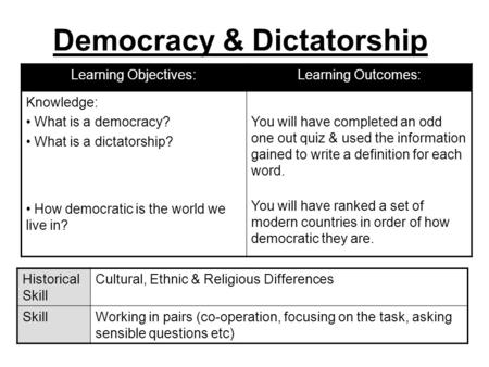 a comparison between democratic and dictatorial types of government Difference between representative democracy and dictatorship generally, a new type of government is established when its earlier alternative fails to fulfill the needs of citizens when such a type of government is established, the positive attributes of the previous government are retained whereas, the negative attributes are changed.