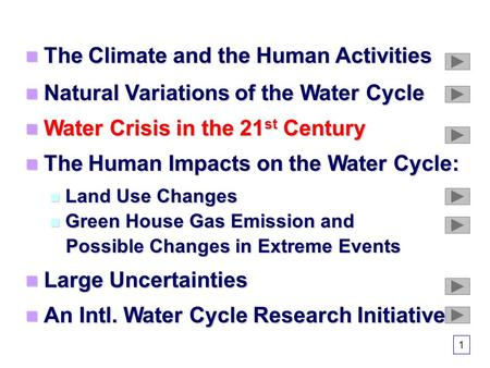 The Climate and the Human Activities The Climate and the Human Activities Natural Variations of the Water Cycle Natural Variations of the Water Cycle Water.