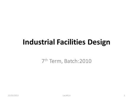 Industrial Facilities Design