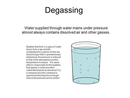 Degassing Water supplied through water mains under pressure almost always contains dissolved air and other gasses. Bubbles that form in a glass of water.
