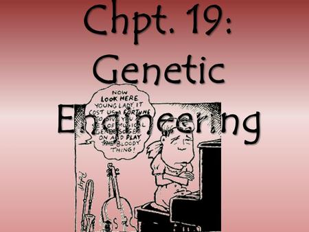 Chpt. 19: Genetic Engineering. What is genetic engineering??? Genetic engineering: is the artificial manipulation or alteration of genes. Genetic Engineering.