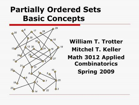 Partially Ordered Sets Basic Concepts