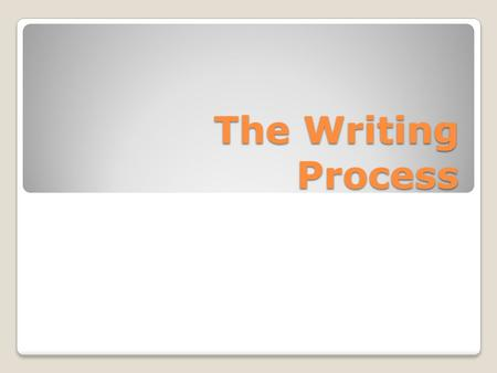 The Writing Process. Prewriting In this stage, you plan what you are going to write. You choose a topic, identify your audience and purpose, brainstorm.