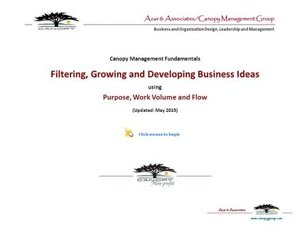 Business and Organization Design, Leadership and Management Azar & Associates/Canopy Management Group Canopy Management Fundamentals Filtering, Growing.