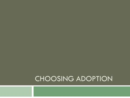 CHOOSING ADOPTION. Choosing Adoption  Biological parenthood is not the only option for those who want children and are ready to become parents.  Adoption-is.