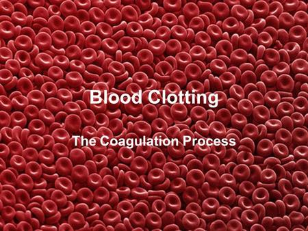 Blood Clotting The Coagulation Process. What is Blood? Blood is a fluid that carries nutrients, gases, and wastes through the body. The blood consists.