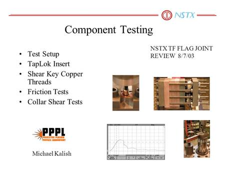 Component Testing Test Setup TapLok Insert Shear Key Copper Threads