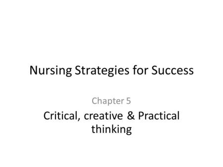 Nursing Strategies for Success