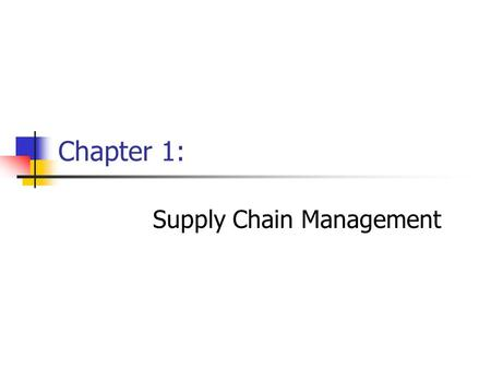 Chapter 1: Supply Chain Management. Chapter 1Management of Business Logistics, 7 th Ed.2 Learning Objectives - After reading this chapter, you should.