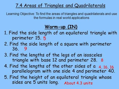 7.4 Areas of Triangles and Quadrilaterals