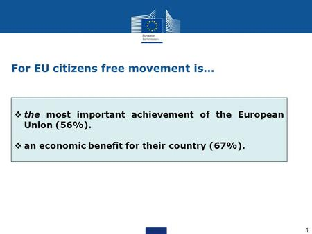 1 For EU citizens free movement is…  the most important achievement of the European Union (56%).  an economic benefit for their country (67%).