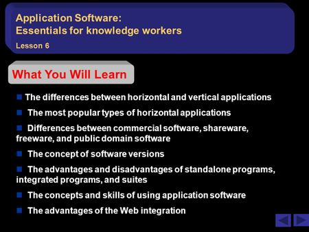 Application Software:   Essentials for knowledge workers