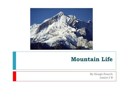 Mountain Life By Giorgio Fenech Junior 2 B. What do mountains look like?  Mountains can be rocky and barren.  Some have trees growing on their sides.