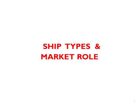 SHIP TYPES & MARKET ROLE