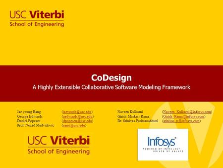 CoDesign A Highly Extensible Collaborative Software Modeling Framework SoftArch, USC March, 2010 Jae young George.