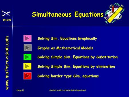 4-Aug-15Created by Mr. Lafferty Maths Department Solving Sim. Equations Graphically Solving Simple Sim. Equations by Substitution Simultaneous Equations.