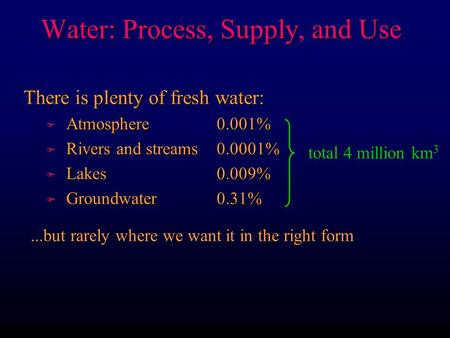 Water: Process, Supply, and Use There is plenty of fresh water: F Atmosphere 0.001% F Rivers and streams 0.0001% F Lakes 0.009% F Groundwater 0.31% total.