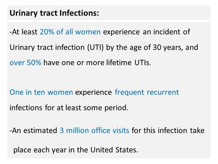 Urinary tract Infections: -At least 20% of all women experience an incident of Urinary tract infection (UTI) by the age of 30 years, and over 50% have.