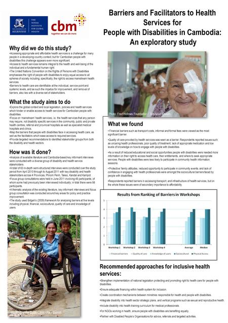 Barriers and Facilitators to Health Services for People with Disabilities in Cambodia: An exploratory study Photo: Fred Hollows Foundation / Sophavid Choum.